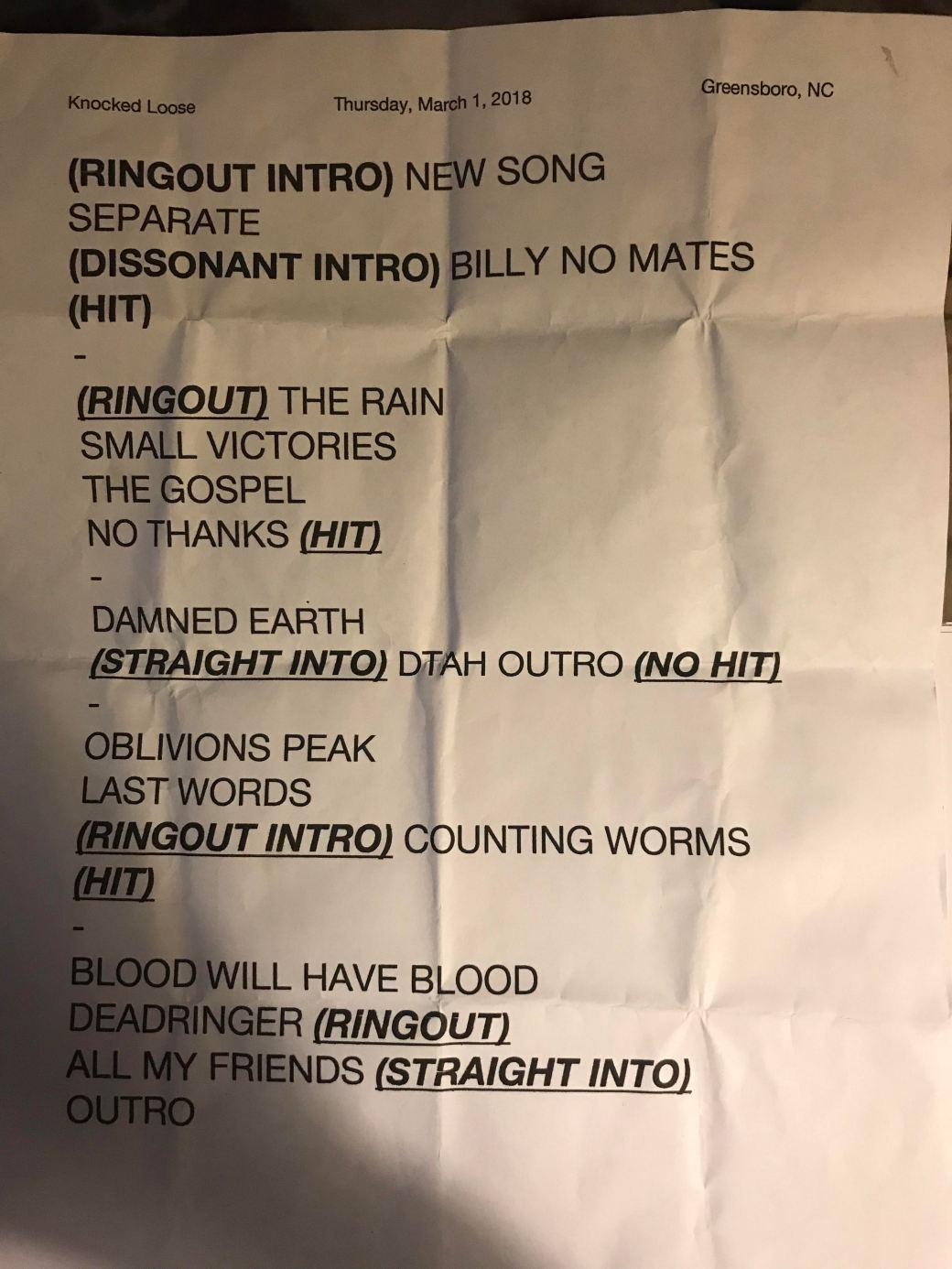 KL Setlist